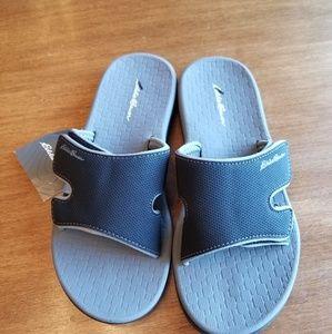 d2298fe06e09 Eddie Bauer Shoes - Eddie Bauer black break point slide sandals